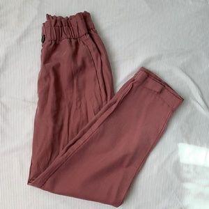Zara Mauve Ruffled Waist Straight Leg Pants